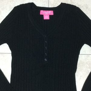 Macy's Say What? Girls V-Neck Long Sleeve Sweater